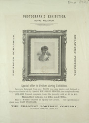 Advert For A Photographic Exhibition At The Royal Aquarium
